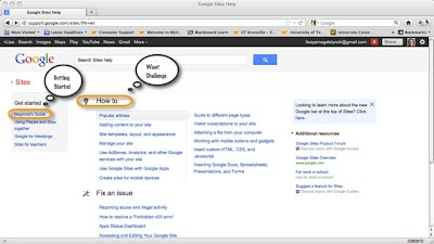 Google Sites Help Page